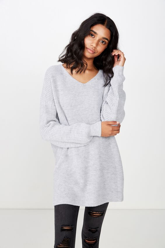 Bambi Twist Front Knit, GREY MARLE