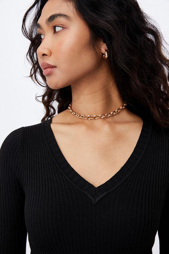 Regina V Neck Knit Top, BLACK