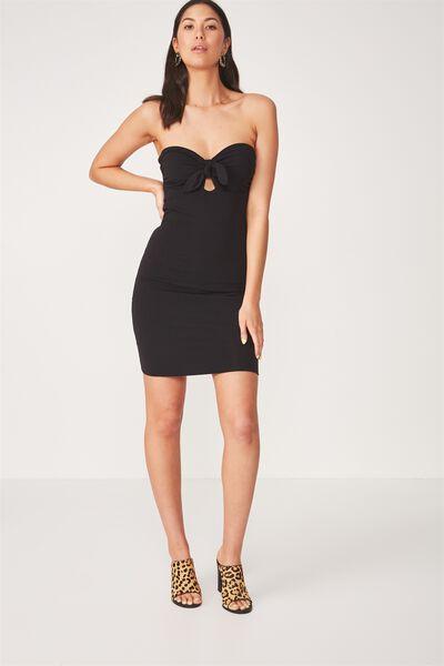 Tie Front Strapless Dress, BLACK