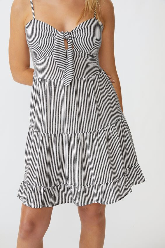 Ava Tie Knot Dress, BLACK & WHITE STRIPE