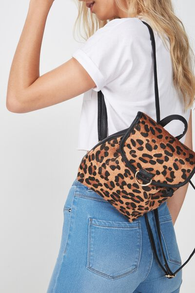Drawstring Mini Backpack, LEOPARD