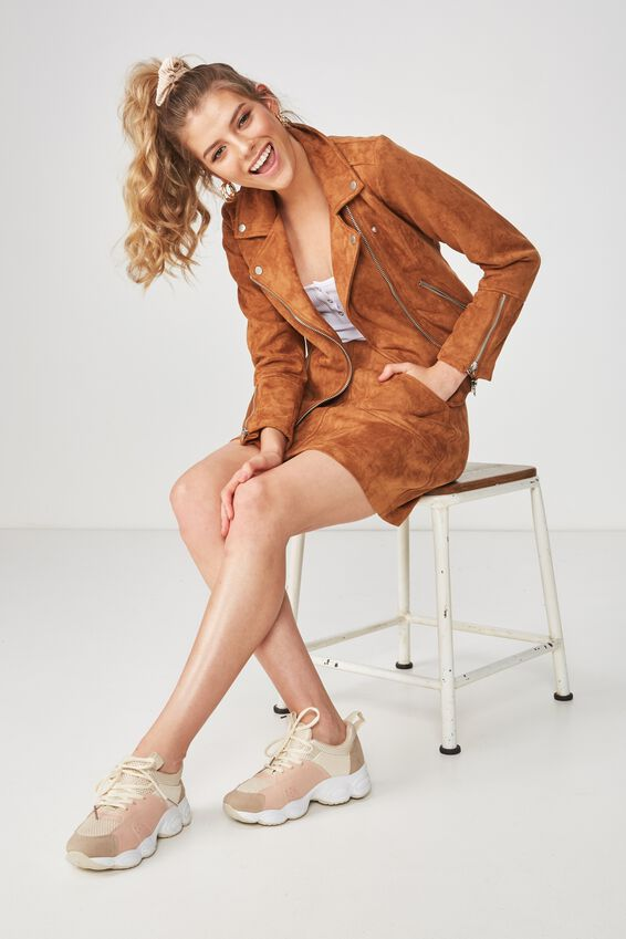 Faux Suede Moto Jacket, TAN