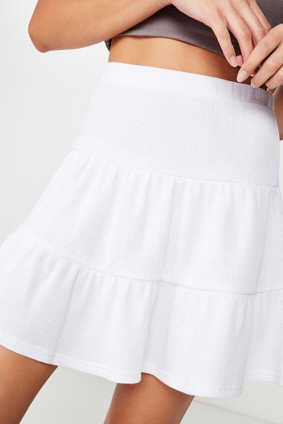 Josie Waffle Tiered Skirt, WHITE