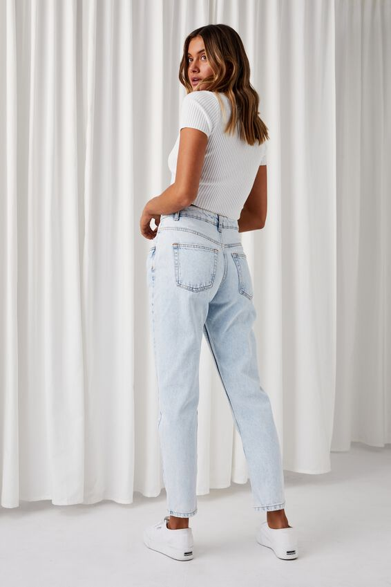 Mom Jean, ICY BLUE FRONT YOKE