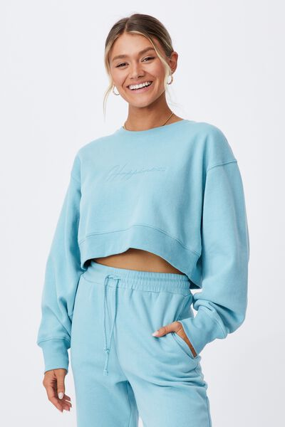 Personalised Louisa Cropped Jumper, CHALKY TEAL