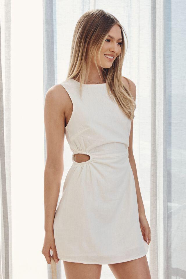 Mila Cutout Mini Dress, WHITE