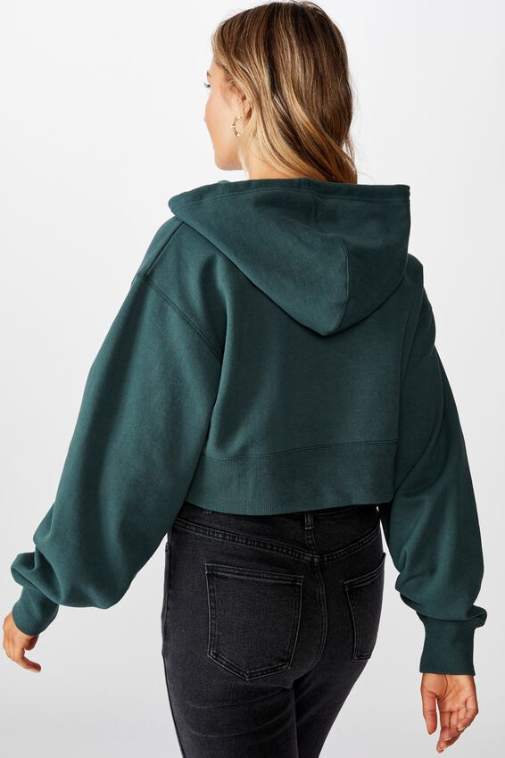 Gracie Hooded Crop Sweat, FOREST GREEN