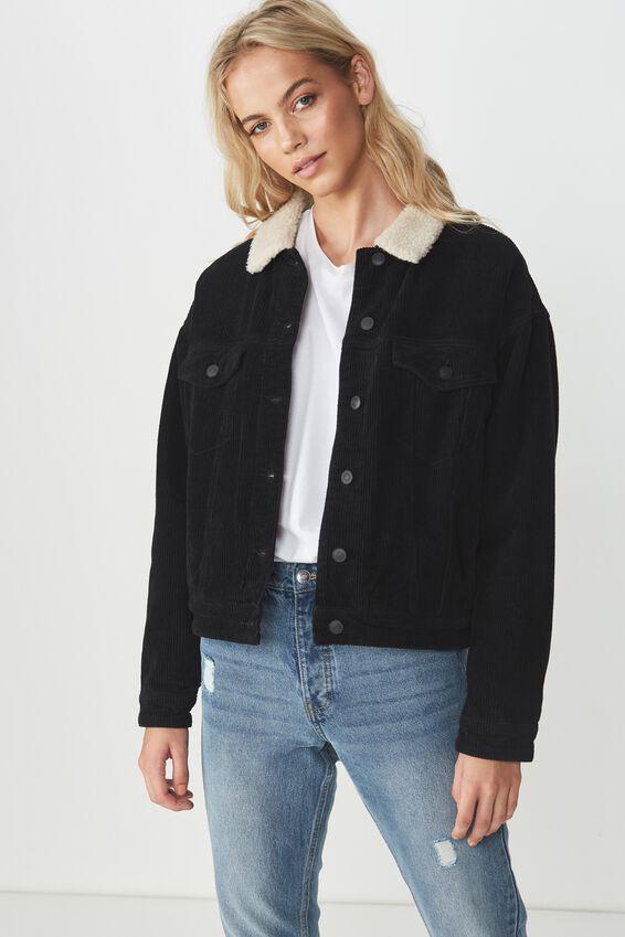 80S Cord Sherpa Jacket, BLACK