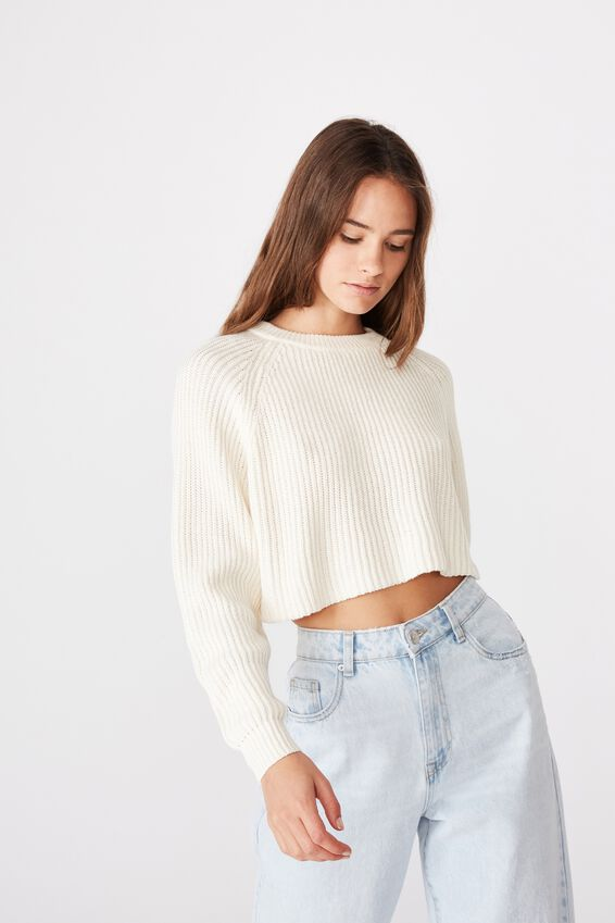 Molly Crew Neck Crop Knit, OFF WHITE