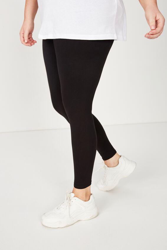 Basic Full Length Leggings, BLACK