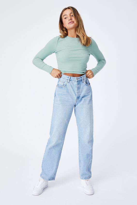 Aspen Long Sleeve Rib Top, MATCHA GREEN