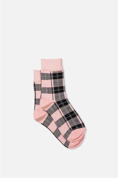 90S Check Socks, BABY PINK HERITAGE