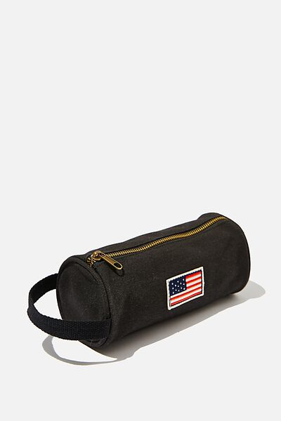 Cyclinder Canvas Pencil Case, WASHED BLACK/AMERICAN FLAG