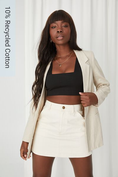 Carpenter Denim Skirt, NATURAL