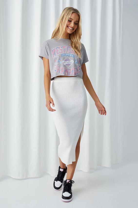 Tamara Printed Crop T Shirt, PEARL GREY/WEST COAST VARSITY