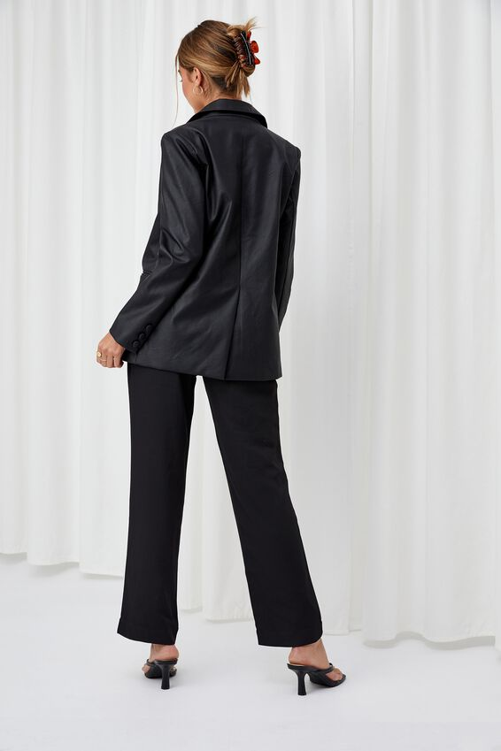 Carrie Faux Leather Blazer, BLACK