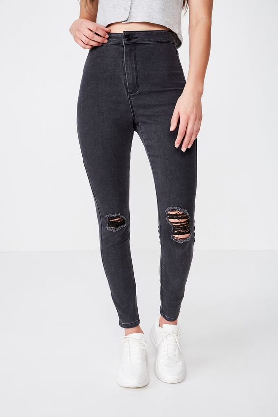 Long Super Skinny Sky High Ripped Jean, DUSTY BLACK
