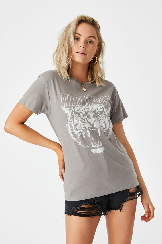 Lola Printed Longline T Shirt, CEMENT GREY/WILD AND FREE