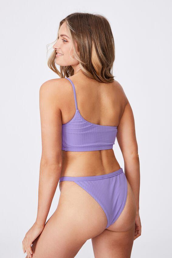 Hawaii One Shoulder Bikini Top, VIVID VIOLET/WIDE RIB