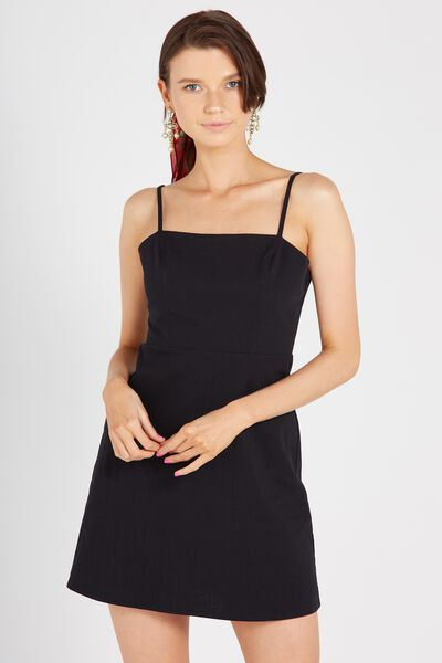 Basic 90s Fitted Cami Dress, BLACK