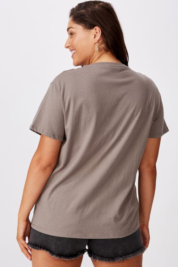 Lola Printed Longline Tee, CEMENT GREY/LOS ANGELES