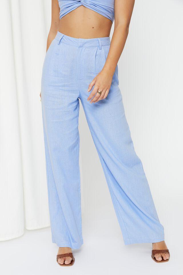 Kendall Linen Blend Wide Leg Pant, LOTUS BLUE