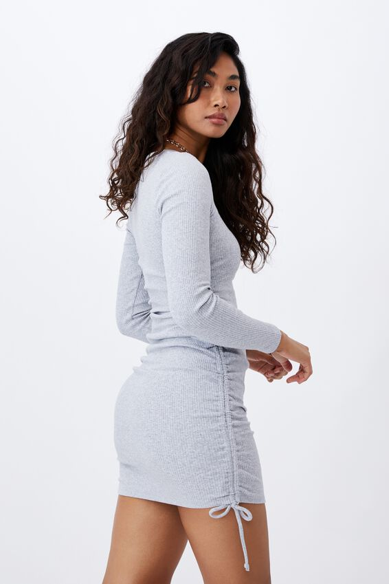 Frida Long Sleeve Mini Dress, GREY MARLE