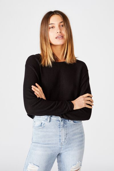 Taylor Crew Neck Long Sleeve Top, BLACK