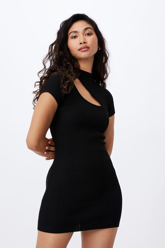 Mira Mini Dress, BLACK
