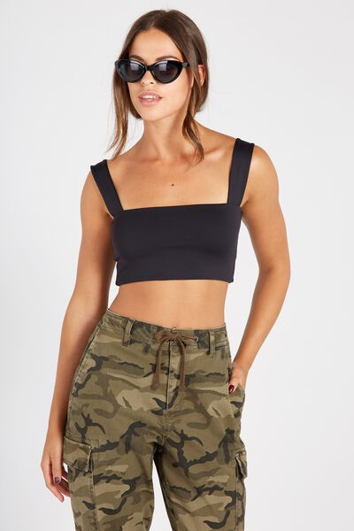 Party Wide Strap Crop, BLACK