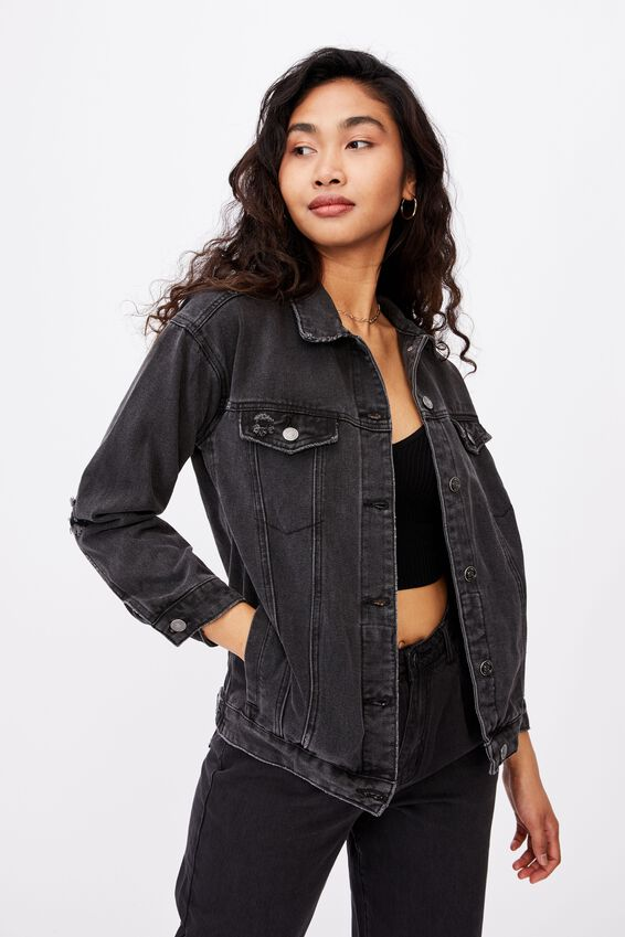 Oversized Denim Jacket, WASHED BLACK