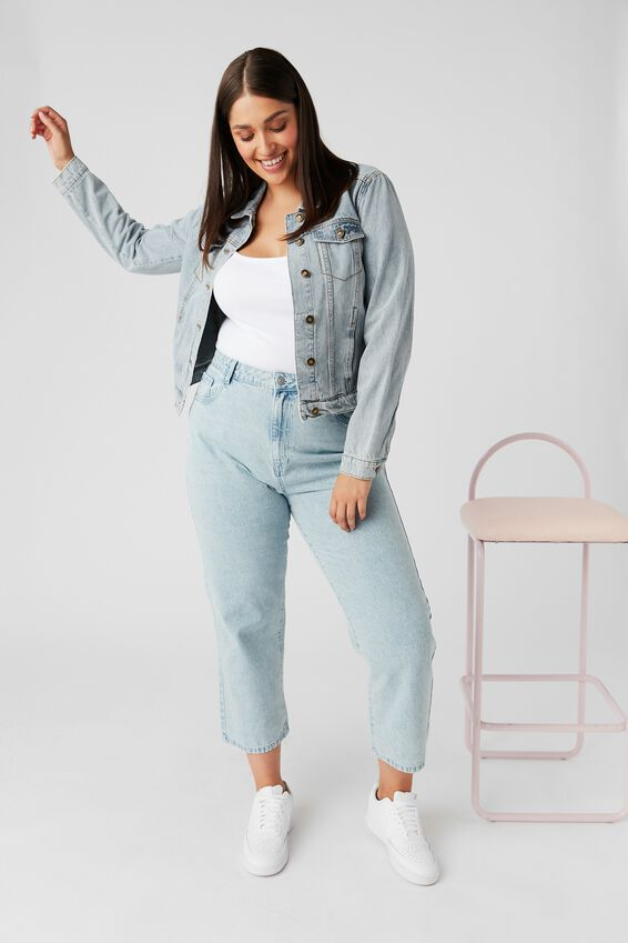 Casual Fitted Denim Jacket, 90's BLUE