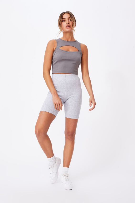 Romina Cut Out Crop Tank, CEMENT GREY