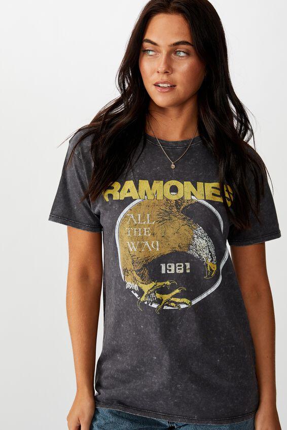 Ramones Tee, ACID WASH BLACK/LCN MT RAMONES ALL THE WAY