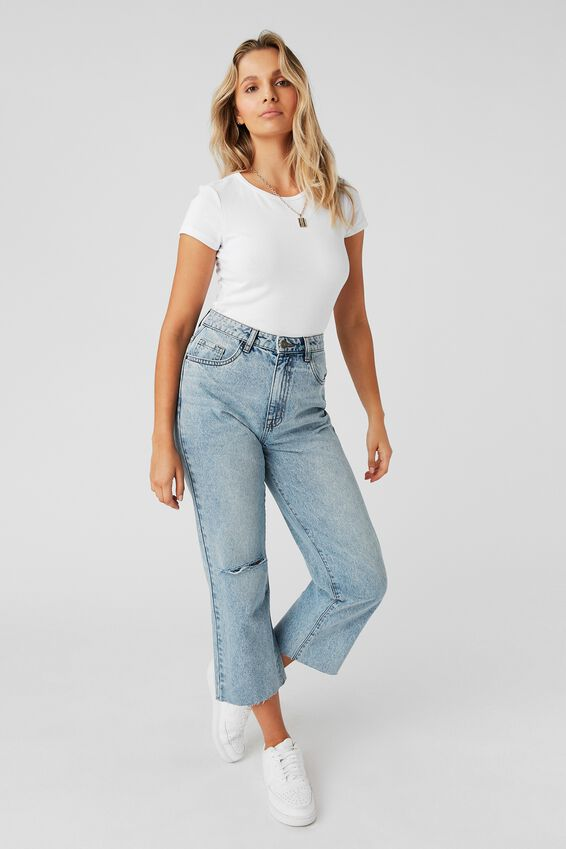 Wide Leg Jean, 90'S BLUE RIPPED