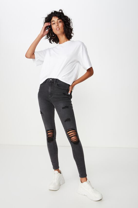 Long Skinny Premium Ripped Jean, SMOKEY BLACK