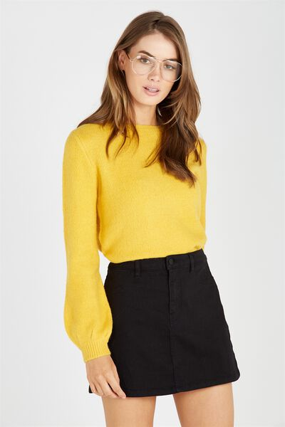Clara Cosy Bell Sleeve Knit Top, YELLOW BEE