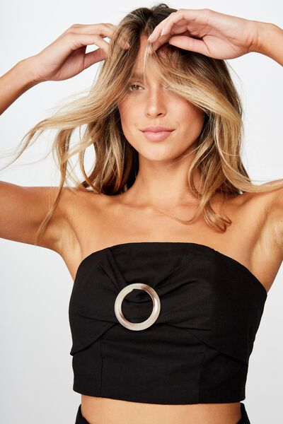 Helly Strapless Top, BLACK LINEN