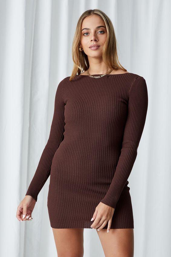 Long Sleeve Reversible Mini Dress, CHOCOLATE