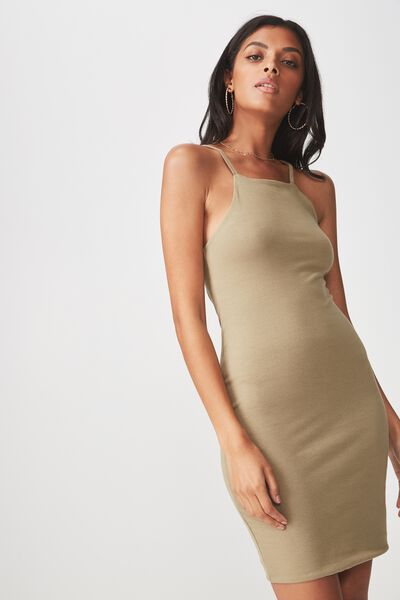 High Neck Strappy Mini Dress, SAGE GREEN