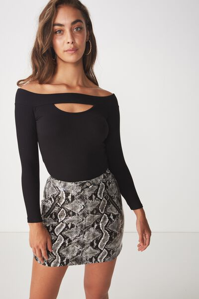 Ava Long Sleeve Off Shoulder, BLACK