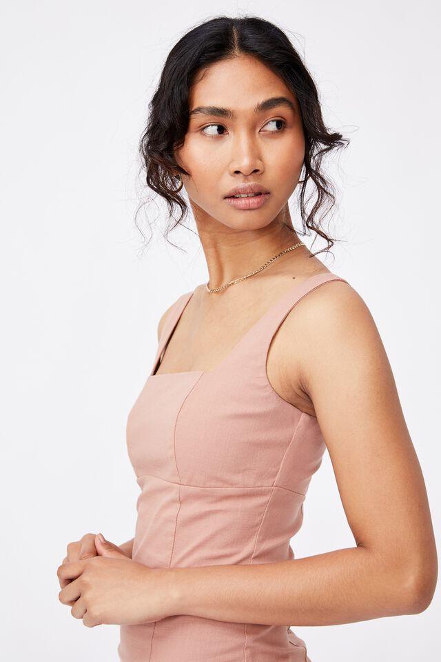 Capri Fitted Square Neck Mini Dress, BLUSH BRONZE