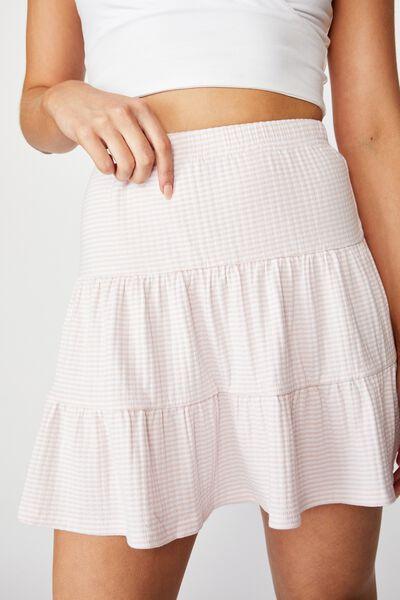 Selena Tiered Skirt, KIARA STRIPE (PINK FLOSS/WHT)