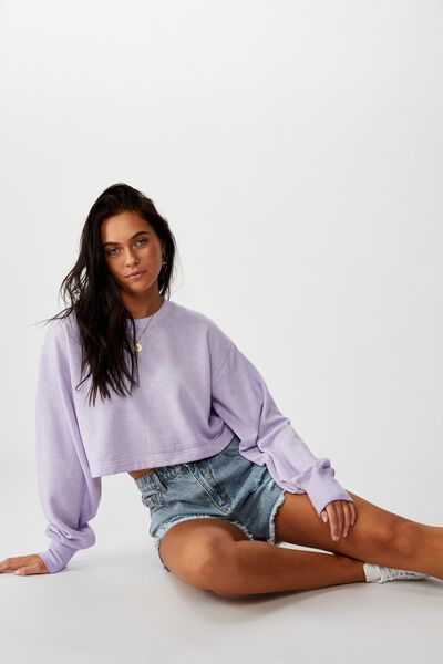 River Long Sleeve Crop Sweat, BURNOUT WASHED FAIRY LILAC