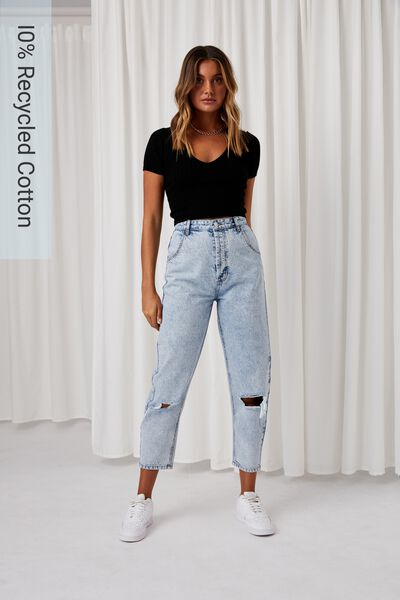 Balloon Ripped Denim Jean, MOROCCAN BLUE FADE