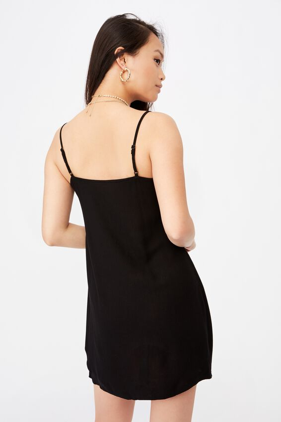 Bella Slip Dress, BLACK