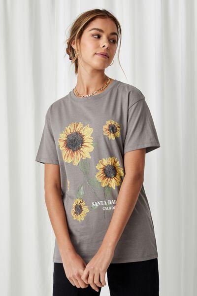 Lola Printed Longline T Shirt, CEMENT GREY/SUNFLOWERS
