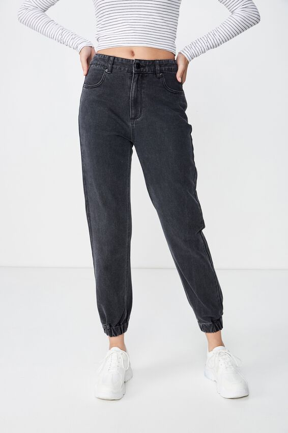 Cuffed Jogger Jean, WASHED BLACK