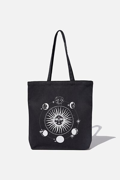 Canvas Tote, WASHED BLACK/SUN-MOON