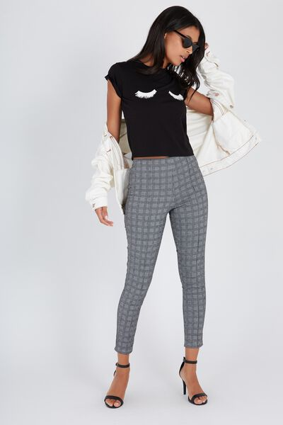 High Waist Check Legging, GREY JACQUARD